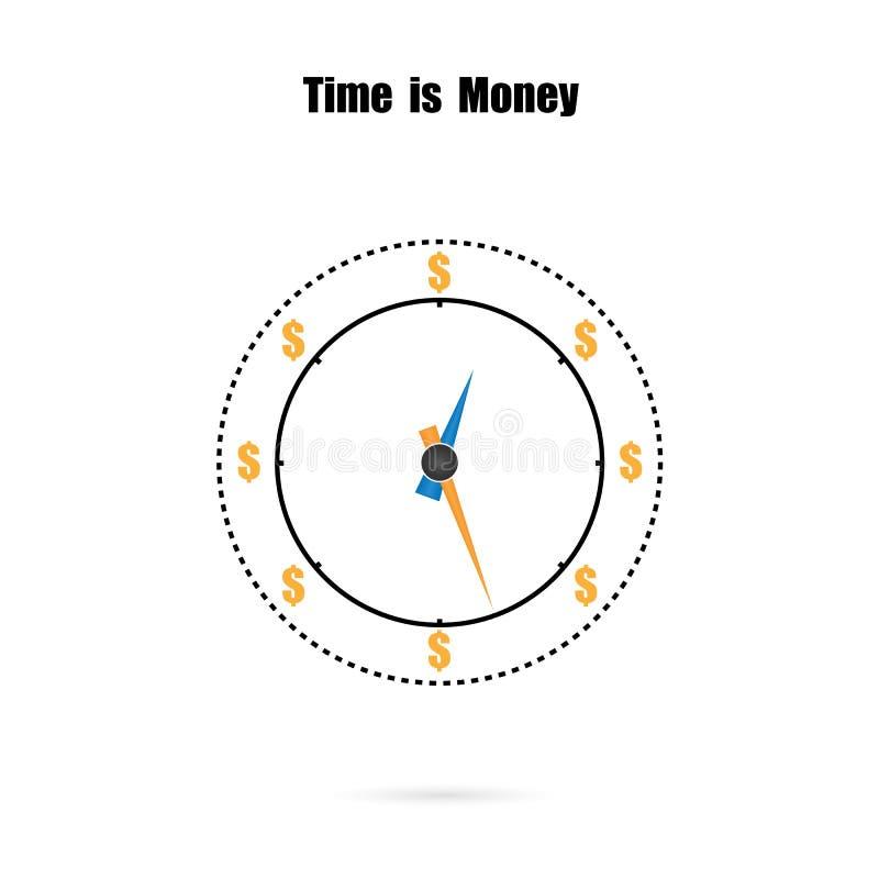 Klockan och tiden är pengarbegreppet, långsiktig finansiell investme stock illustrationer