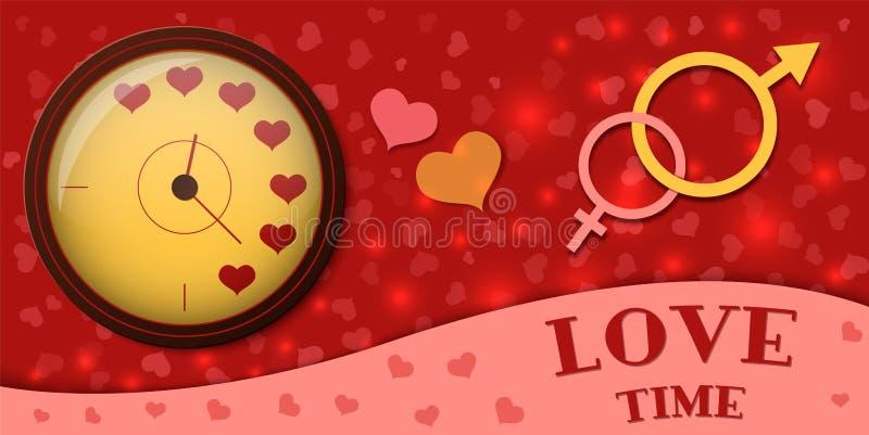 Klockan visar tiden att älska Symbol av mannen och kvinnan också vektor för coreldrawillustration stock illustrationer