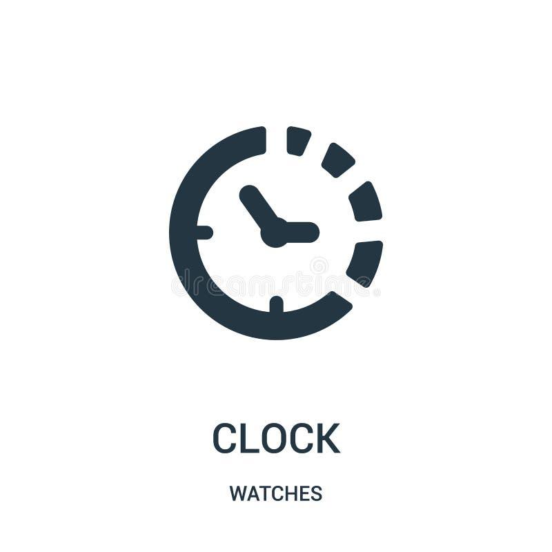 klockasymbol av symbolsvektorn för rund form från klockasamling Tunn linje klockasymbol av för översiktssymbol för rund form vekt stock illustrationer
