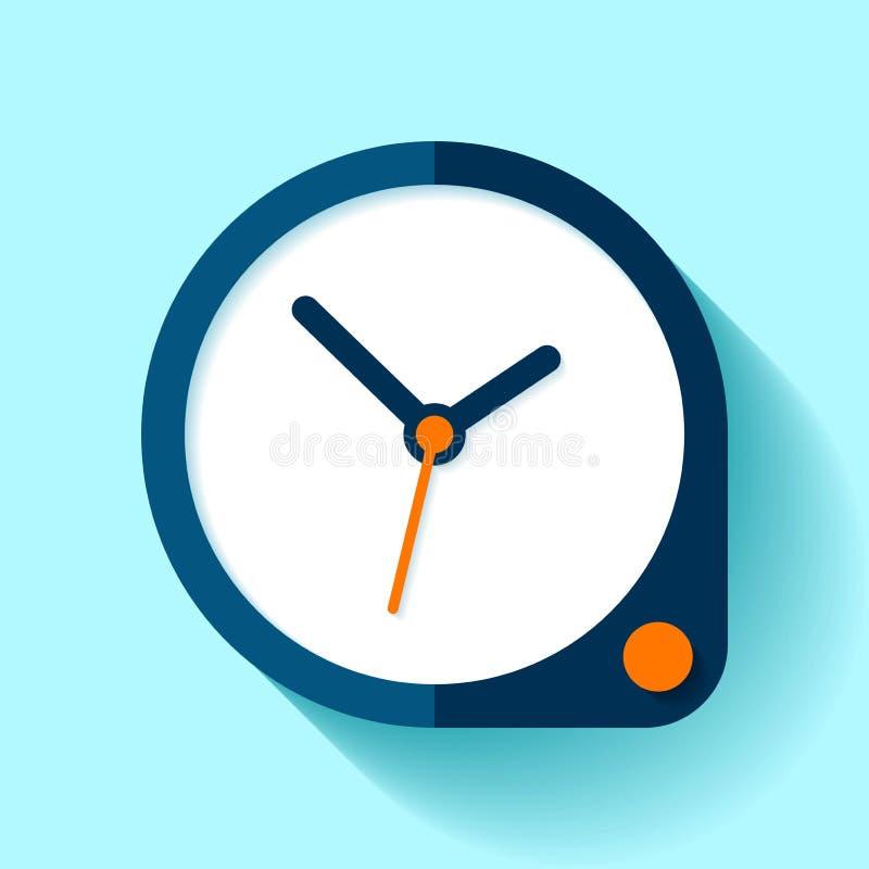 Klockasymbol i plan stil, rund tidmätare på blå bakgrund Enkel affärsklocka button orangen Vektordesignbeståndsdel för dig proj stock illustrationer