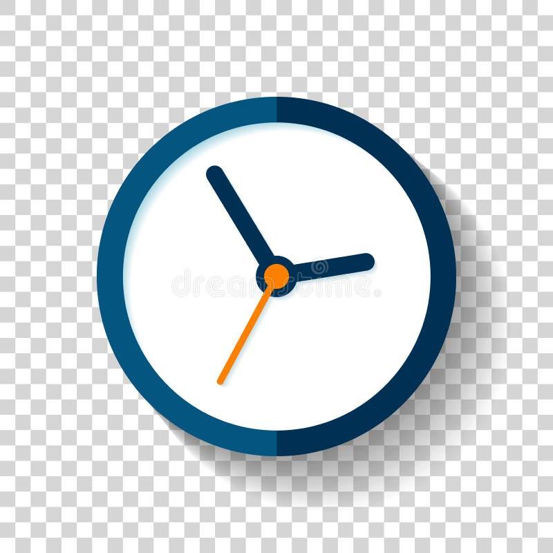 Klockasymbol i plan stil, rund tidmätare på på genomskinlig bakgrund Enkel affärsklocka Vektordesignbeståndsdelen för dig projekt royaltyfri illustrationer