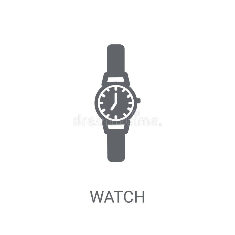 Klockasymbol Moderiktigt klockalogobegrepp på vit bakgrund från H royaltyfri illustrationer
