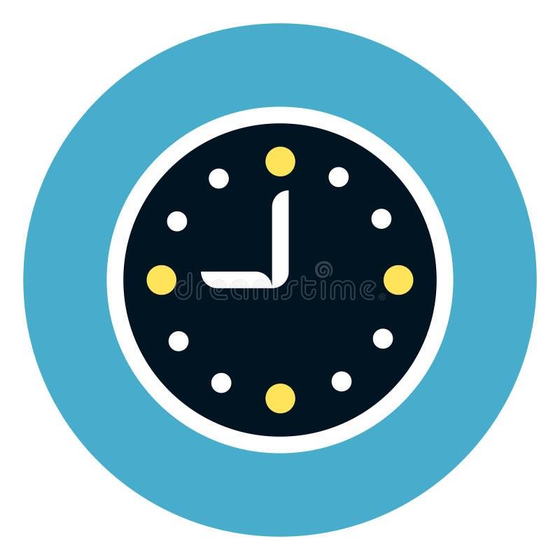 Klockasymbol på rundablåttbakgrund stock illustrationer
