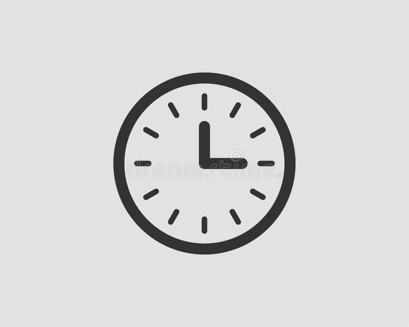 Klockasymbolsvektor Plan designbeståndsdelklocka som isoleras på vit bakgrund vektor illustrationer
