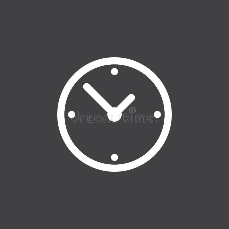Klockasymbolsvektor som isoleras på svart stock illustrationer
