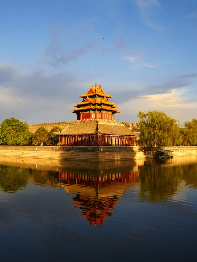 Klockatorn av Forbidden City, Peking Kina royaltyfria foton