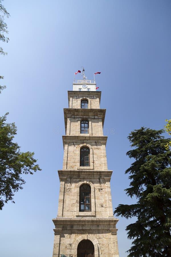 Klockatorn i Bursa, Turkiet arkivfoto