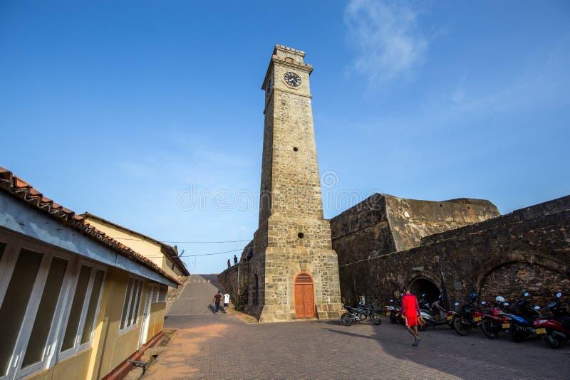 Klockatorn i det Galle fortet, Sri Lanka royaltyfria foton
