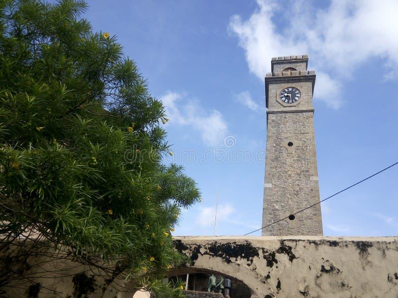 Klockatorn i det Galle fortet, Sri Lanka fotografering för bildbyråer