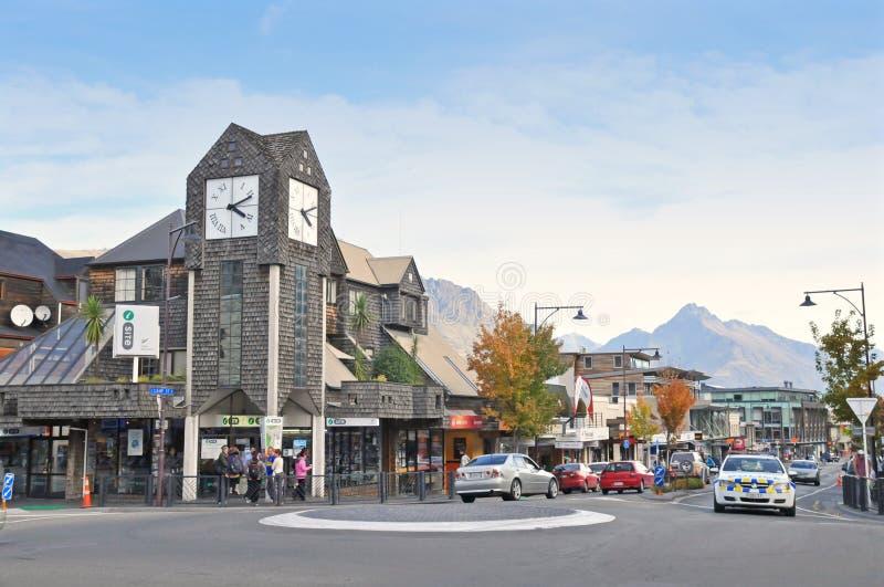 Klockatorn Queenstown, Nya Zeeland royaltyfri foto