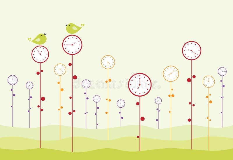 klockaträdgård vektor illustrationer