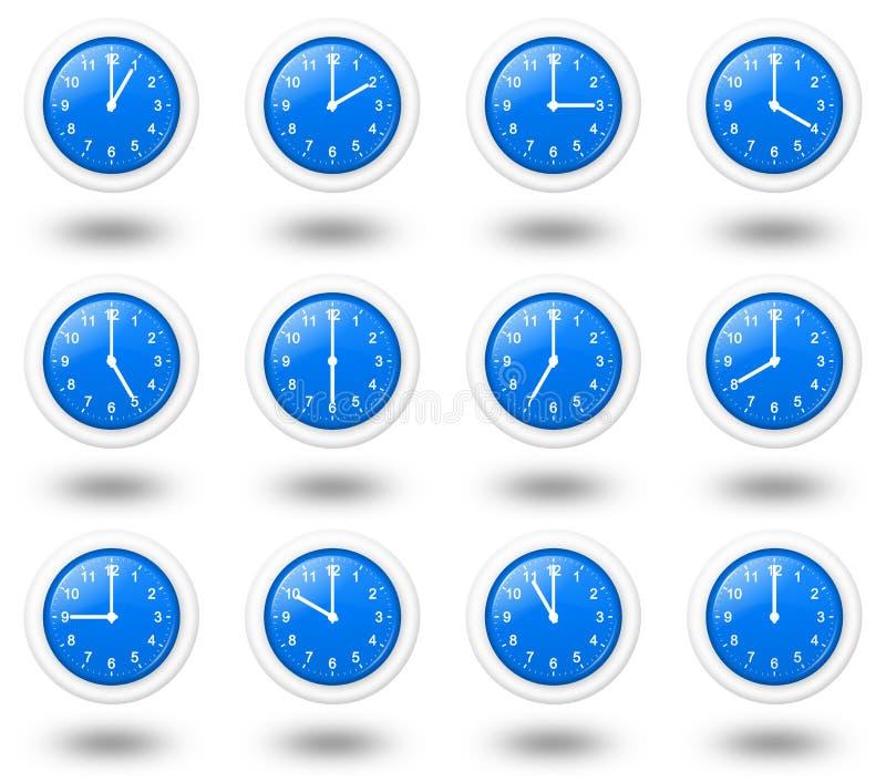 Klockor för tidzoner royaltyfri illustrationer
