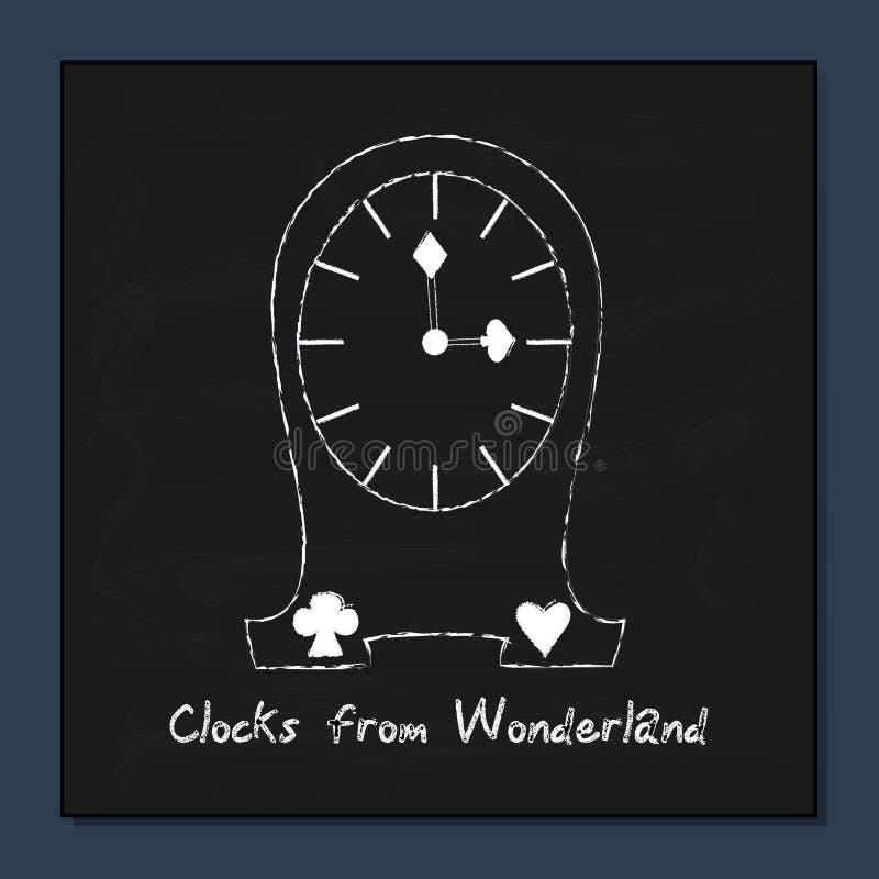 Klockor från Alice Adventures i underland royaltyfri illustrationer
