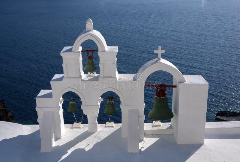 Klockor i Santorini, Grekland arkivfoton