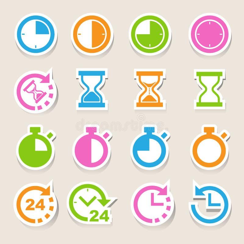 Klockor och tidsymbolsuppsättning royaltyfri illustrationer