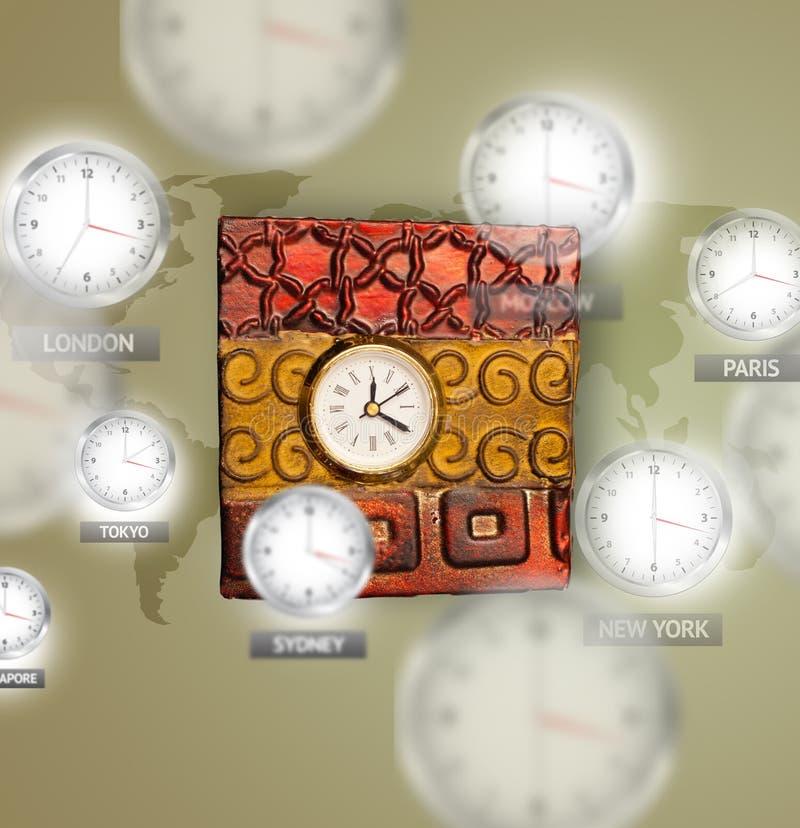 Klockor och tidszoner över världsbegreppet royaltyfri fotografi