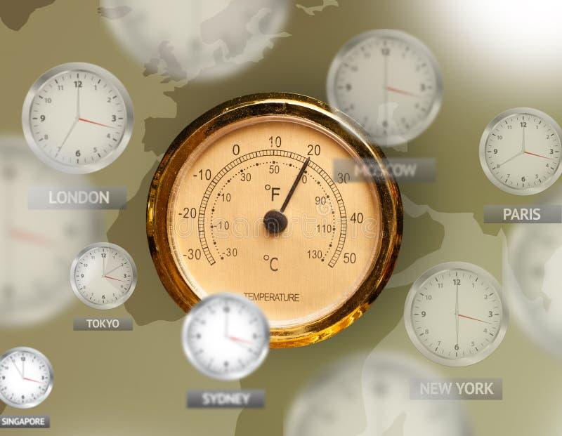 Klockor och tidszoner över världsbegreppet arkivbild