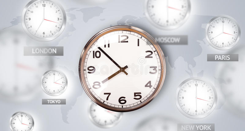 Klockor och tidszoner över världsbegreppet arkivfoto