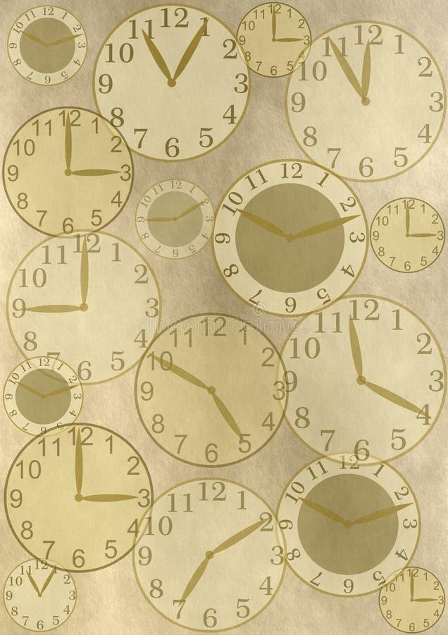 Klockor på tappningbakgrund stock illustrationer