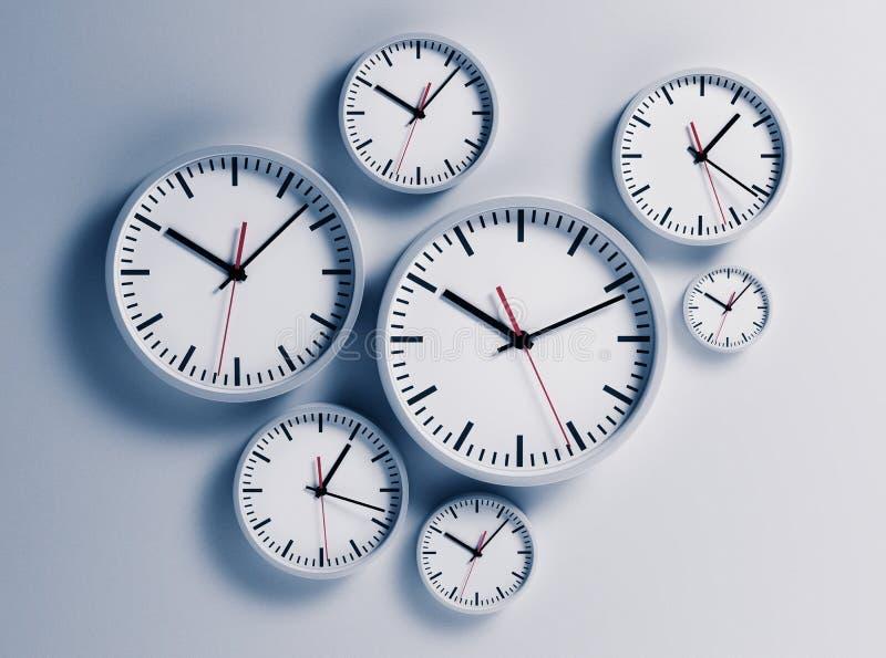 Klockor som hänger på väggen vektor illustrationer