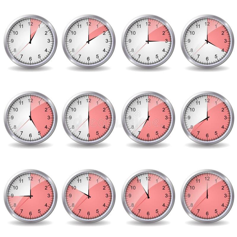 Klockor som visar olik tid stock illustrationer