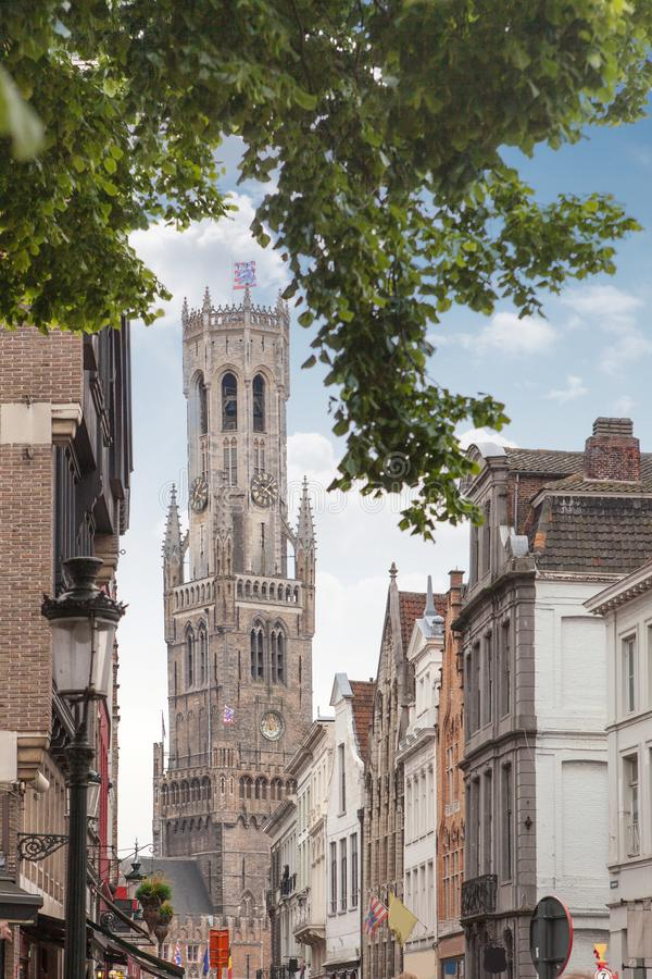 Klockstapel av Bruges i Belgien royaltyfri bild