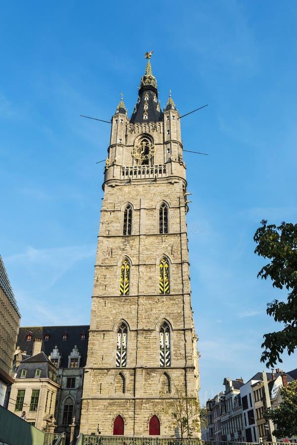 Klockstapel av Ghent, klockatorn, i Belgien arkivfoto