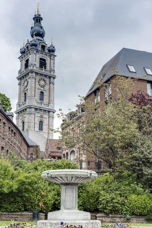 Klockstapel av Mons i Belgien. fotografering för bildbyråer