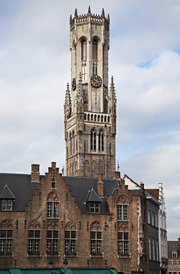 klockstapel Belgien bruges royaltyfri bild