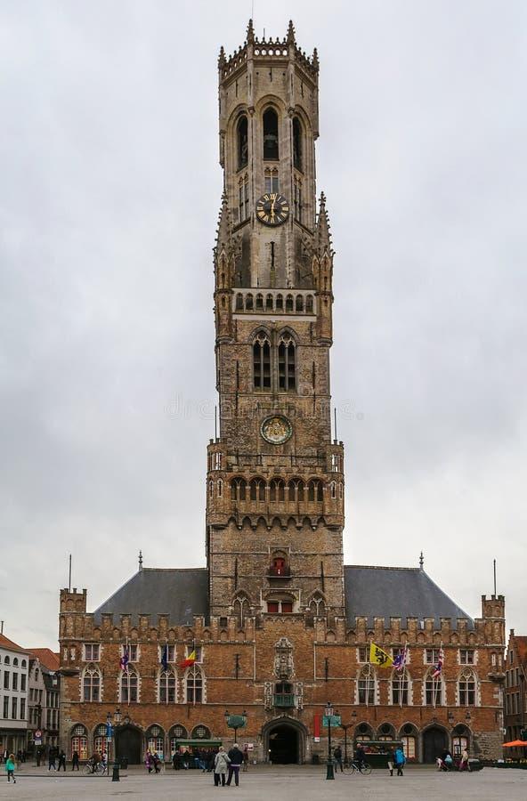 klockstapel Belgien bruges arkivbild