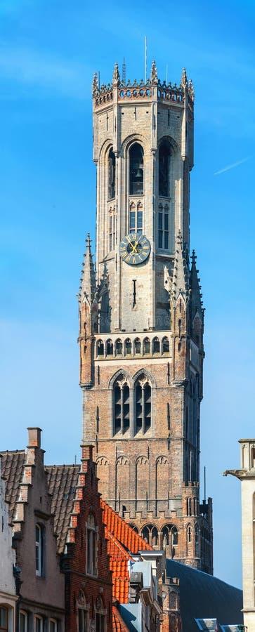 Klockstapel i Bruges, Belgien arkivbilder
