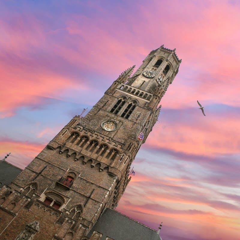 Klockstapelklockatorn på solnedgång i Bruges royaltyfri bild