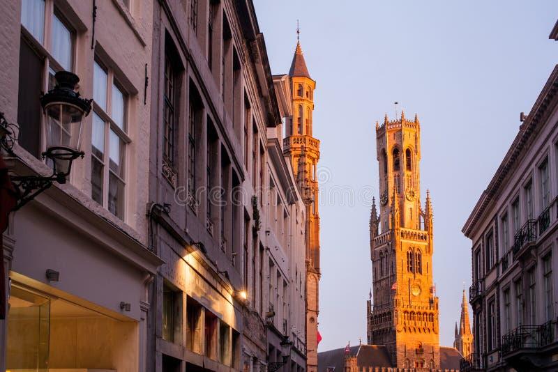 Klockstapeln av Bruges arkivfoton