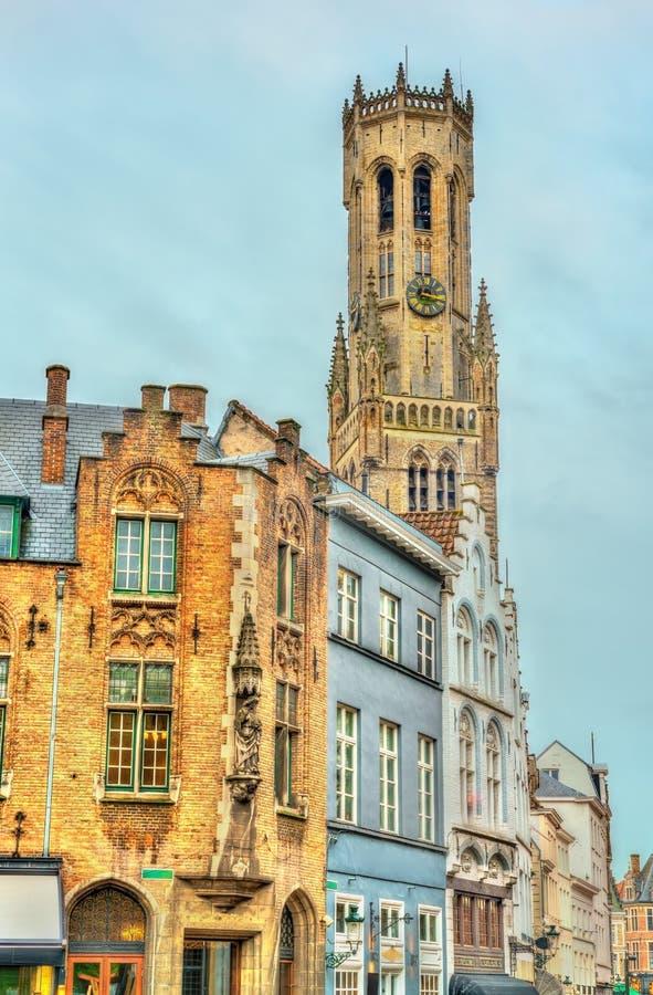 Klockstapeln av Bruges, ett medeltida klockatorn i Belgien arkivfoto