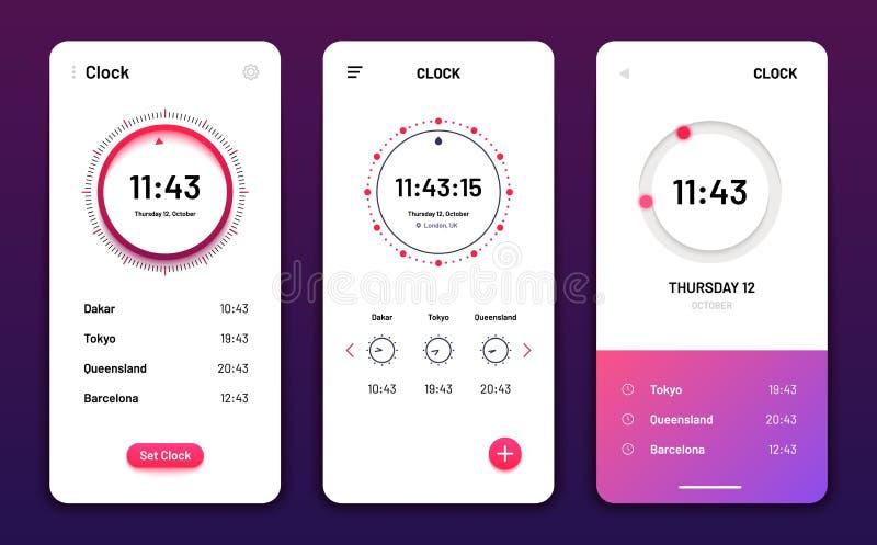 Klok App Digitale de telefoontoepassing van het klokalarm Het futuristische vectorgebruikersinterface van het Cellphonehorloge wi vector illustratie