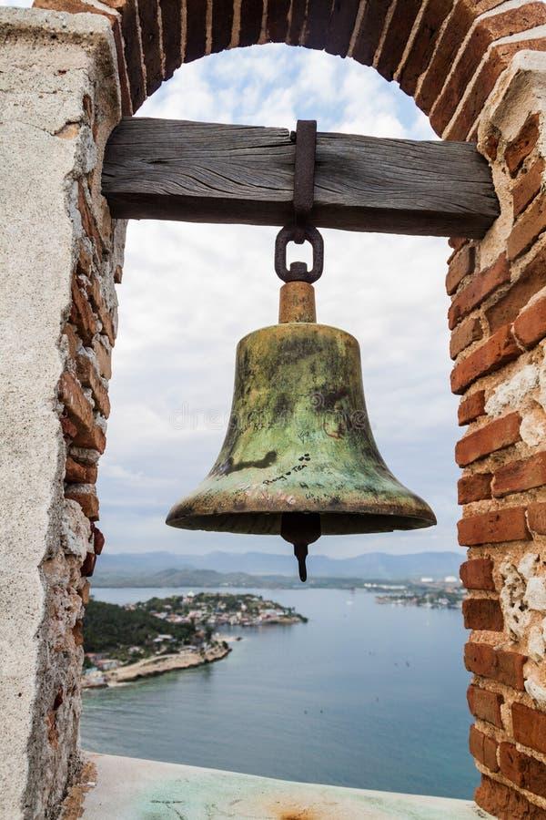 Klok bij het Kasteel San Pedro de la Roca del Morro, Santiago de Cuba, Cu stock foto's