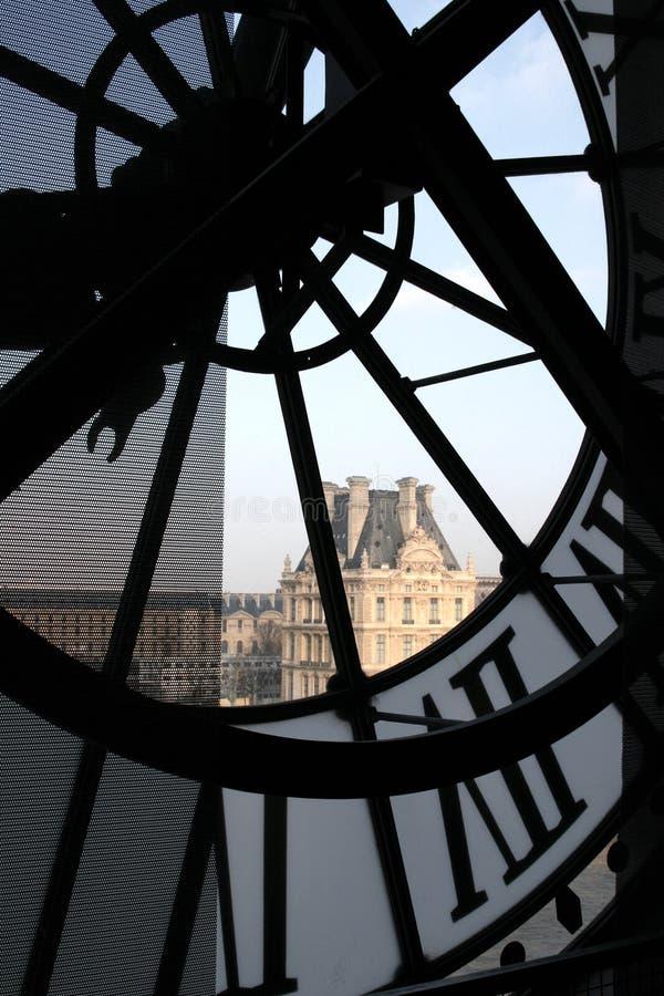 Klok bij het Museum Orsay stock foto