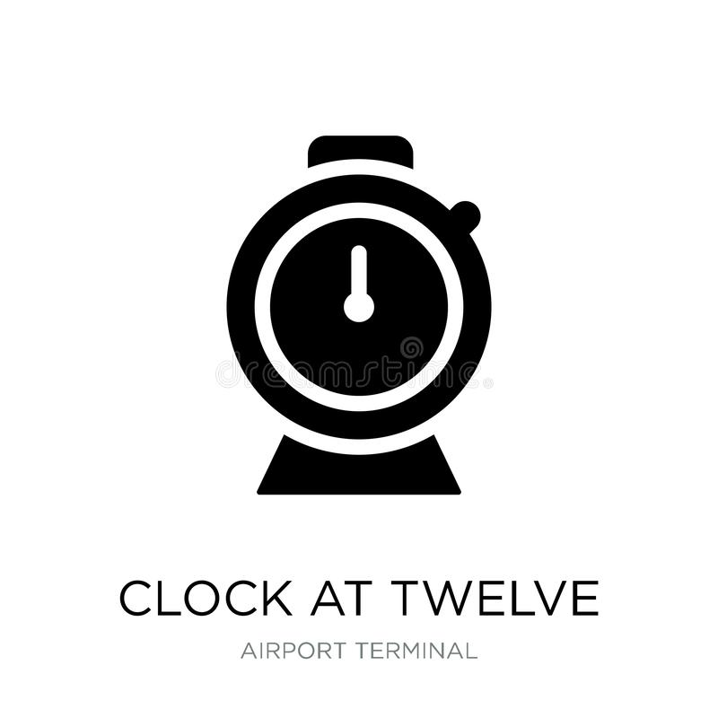 klok bij twaalf uurpictogram in in ontwerpstijl klok bij twaalf die uurpictogram op witte achtergrond wordt geïsoleerd klok bij t royalty-vrije illustratie