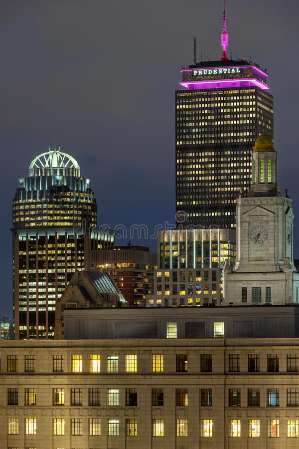Klok byggnad i Boston arkivbild