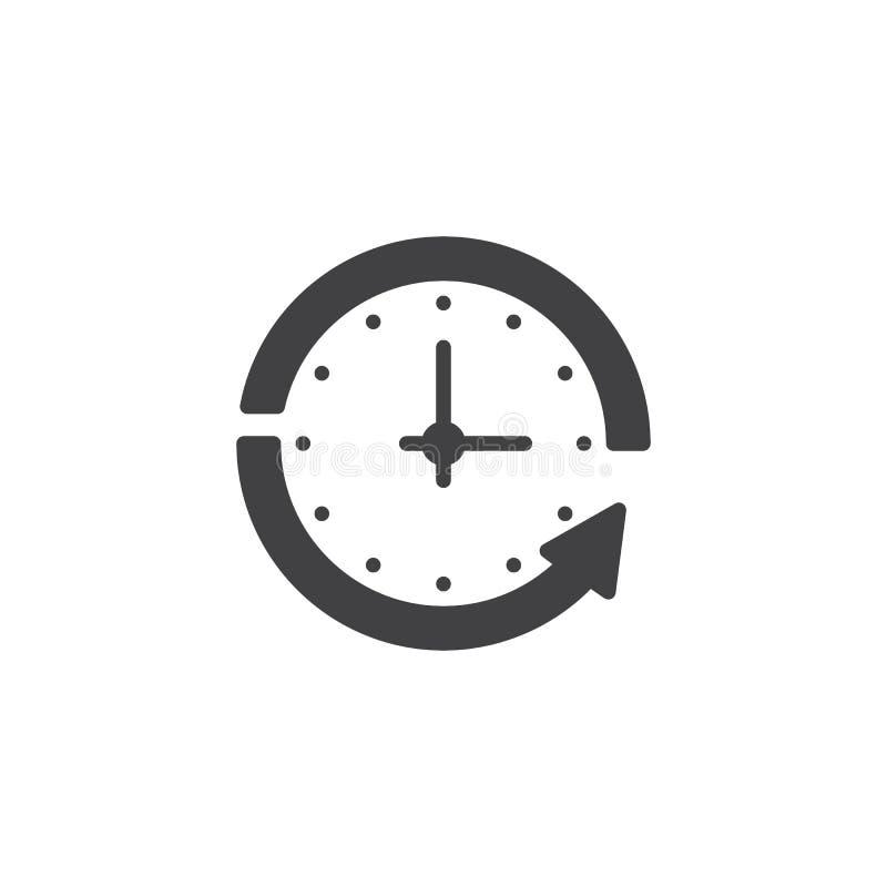 Klok en cirkelpijl vectorpictogram royalty-vrije illustratie