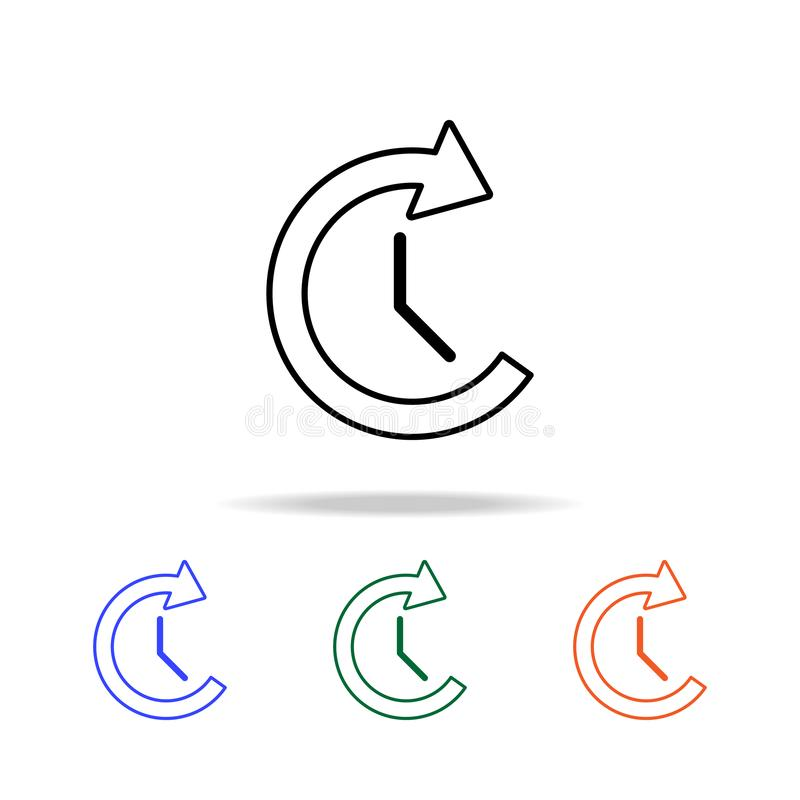 klok en cirkelpijlpictogram Elementen van eenvoudig Webpictogram in multikleur Grafisch het ontwerppictogram van de premiekwalite royalty-vrije illustratie