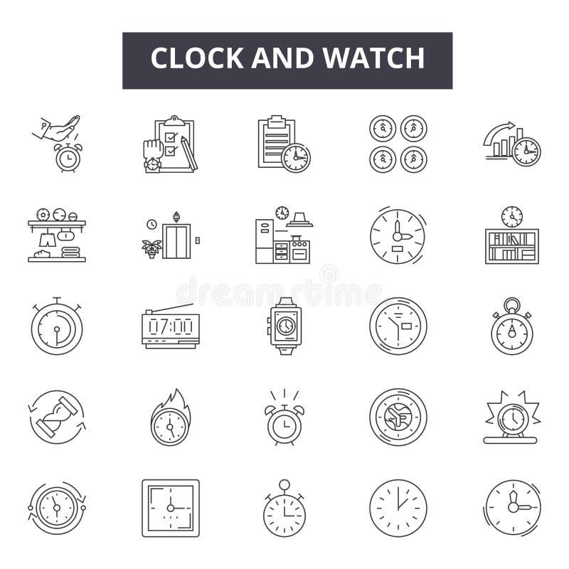 Klok en de lijnpictogrammen van van horlogereparaties en delen voor Web en mobiel ontwerp De tekens van de Editableslag Klok en h royalty-vrije illustratie
