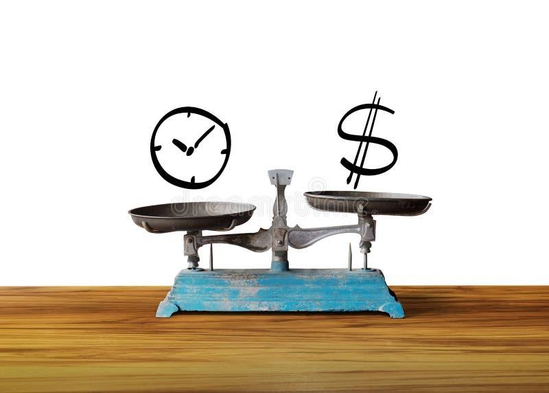 Klok en gelddollarteken op schaal, stock foto
