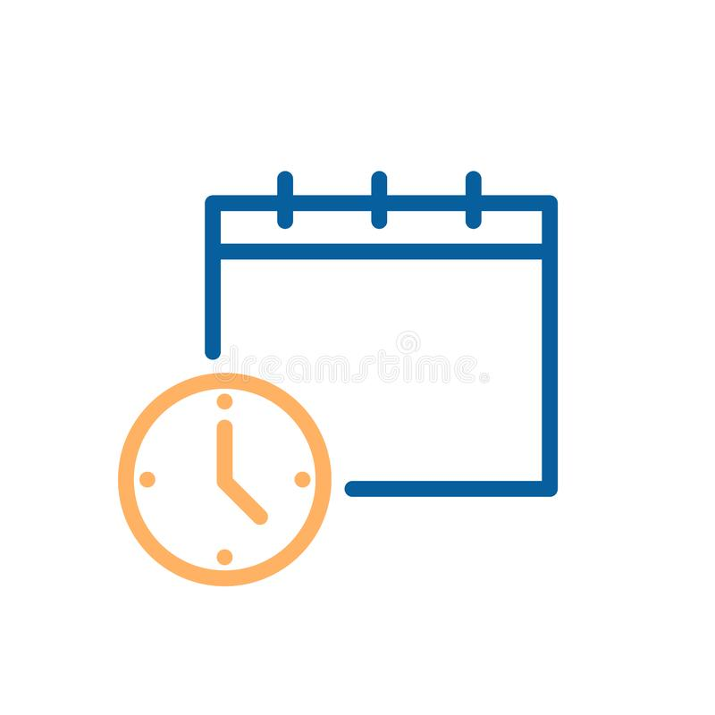 Klok en kalender eenvoudig pictogram Vectorillustratie voor zaken, programma, bureau, routine, leveringsdagen, uiterste termijn e royalty-vrije illustratie