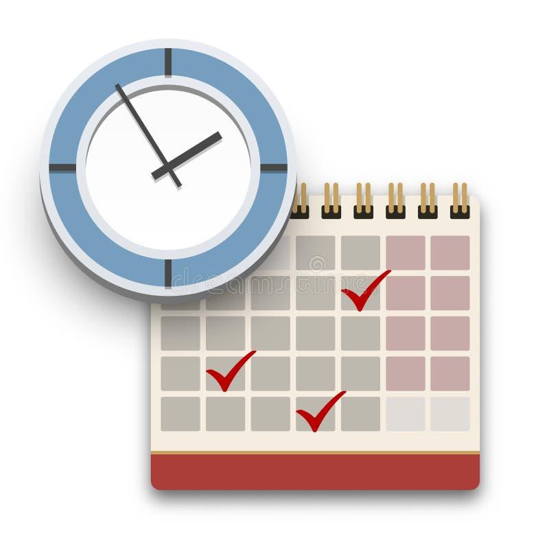 Klok en Kalender met vinkjespictogram Voltooid taak, programma, benoemings of uiterste termijnconcept vector illustratie