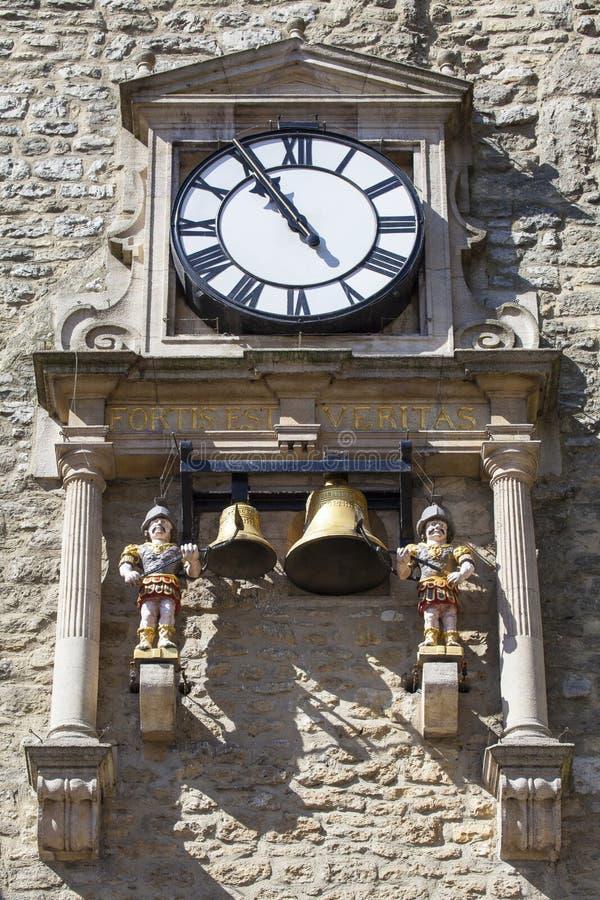 Klok en Klokkengelui van Carfax-Toren in Oxford royalty-vrije stock foto's