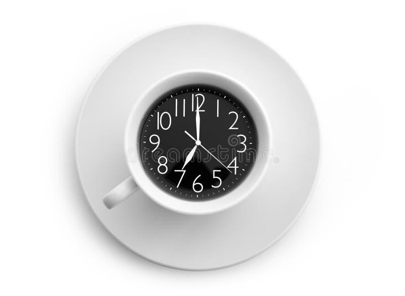 Klok en koffie royalty-vrije stock afbeeldingen