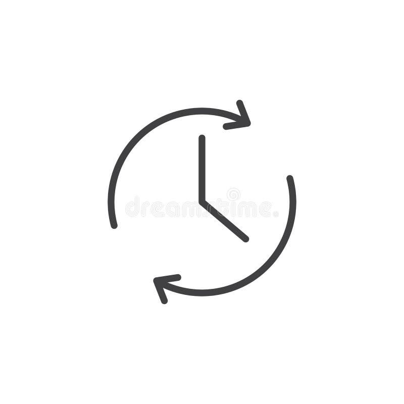 Klok en omwentelings het pictogram van het pijlenoverzicht vector illustratie