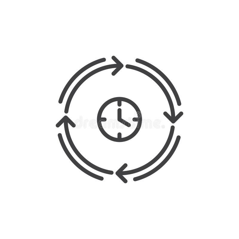 Klok en pijlen rond lijnpictogram, overzichts vectorteken, lineair die stijlpictogram op wit wordt geïsoleerd vector illustratie