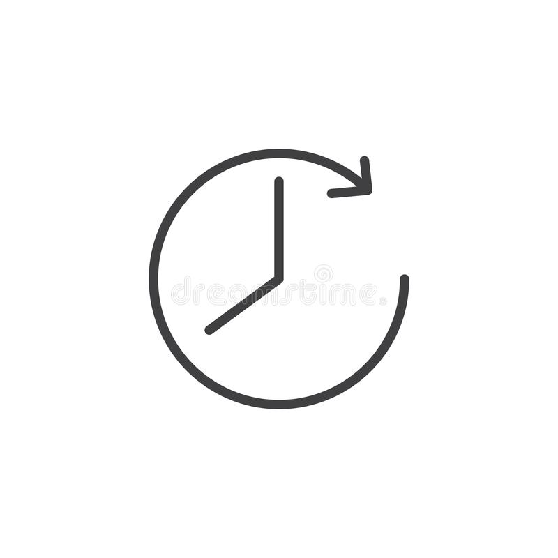 Klok en pijloverzichtspictogram royalty-vrije illustratie